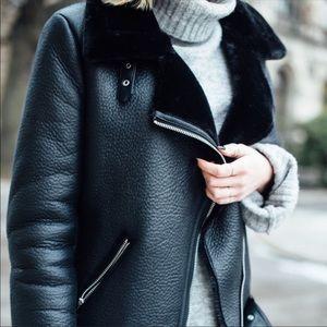 Zara *ACNE DUPE* Shearling Faux Fur Moto Jacket